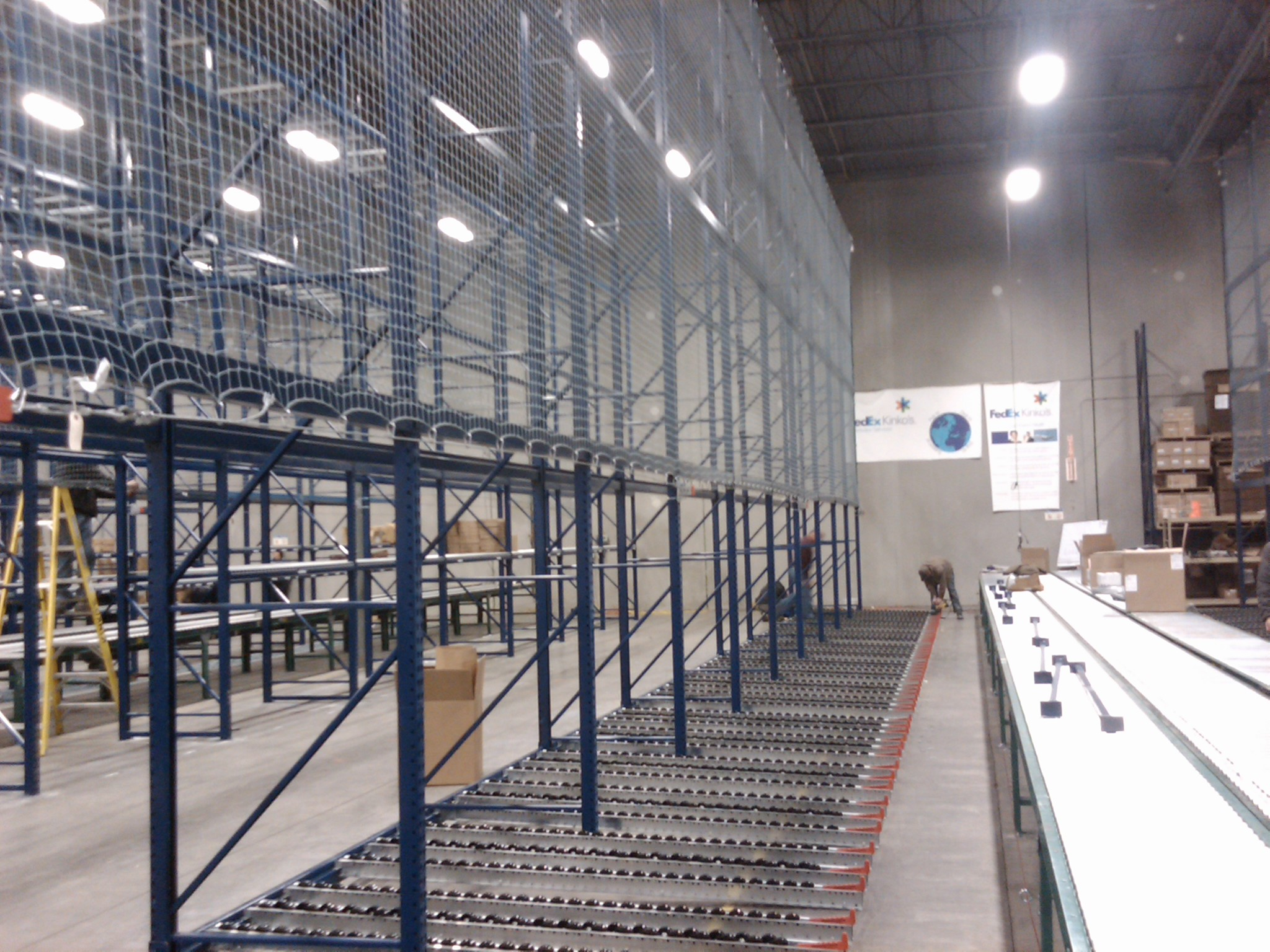 pallet rack and wire decking installation