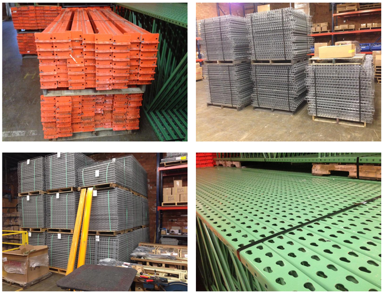 Used teardrop style pallet rack uprights, beams and wire mesh decking